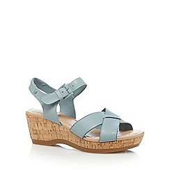 Hush Puppies - Pale blue 'Eva' high wedge sandals