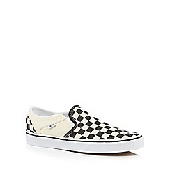 Vans - Cream checked 'Asher' slip on shoes