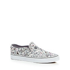 Vans - Cream floral print slip-on shoes