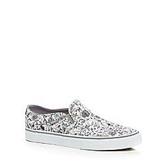 Vans - Cream floral print slip-on shoes