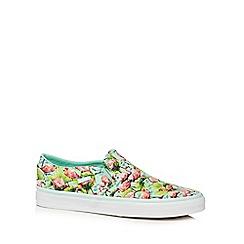 Vans - Green flamingo print 'Asher' slip on shoes