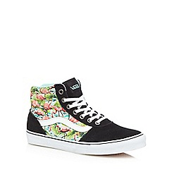 Vans - Black suede flamingo print high-top trainers