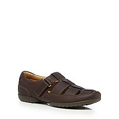 Clarks - Brown 'Recline open' leather cut-out sandals