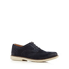Clarks - Big and tall navy 'raspin' brogues