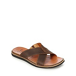 Clarks - Tan 'Lynton' cross over strap sandals