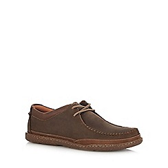 Clarks - Dark brown leather 'Trapell Pace' lace up shoes