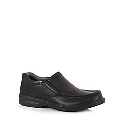 Clarks - Black leather 'Keeler Step' slip-on shoes