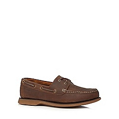 Clarks - Big and tall brown 'port view' boat shoes