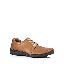 Rieker - Big and tall tan leather lace up shoes