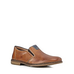 Rieker - Big and tall tan leather slip on shoes