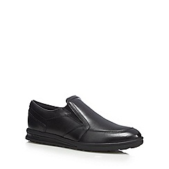 Kickers - Black leather slip-on shoes