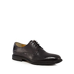 Steptronic - Big and tallblack leather 'neptune' wide fit derby shoes