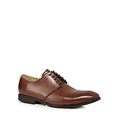 Steptronic - Tan leather wide fit 'Feud' punch detailed Derby shoes