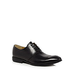 Steptronic - Big and tallblack leather wide fit 'feud' derby shoes