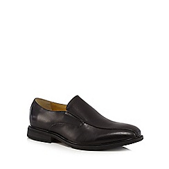 Steptronic - Big and tallblack leather 'nissan' slip-on shoes