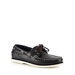 Loake - Big and tall navy leather lace-up boat shoes