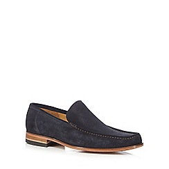 Loake - Big and tall navy suede slip-on shoes
