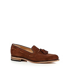 Loake - Tan suede tassel loafer shoes