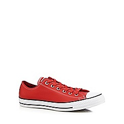 Converse - Red 'All Star' leather low top trainers