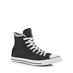 Converse - Black 'All Star' leather high top trainers