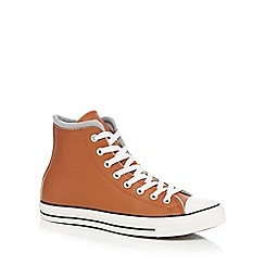 Converse - Dark orange 'All Star' leather high top trainers