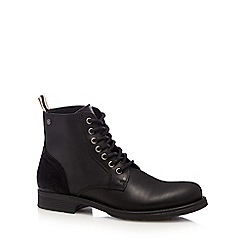 Jack & Jones - Black 'Sting' leather boots