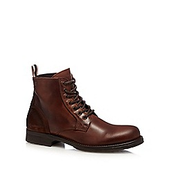 Jack & Jones - Brown 'Sting' leather boots