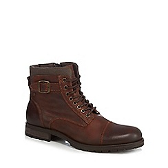 Jack & Jones - Brown leather lace up boots