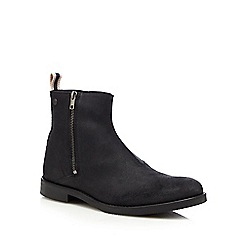 Jack & Jones - Black 'Zippy' waxed leather ankle boots