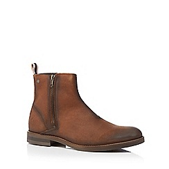 Jack & Jones - Brown 'Zippy' waxed leather ankle boots