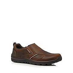 Skechers - Brown leather 'Superior Manlon' slip-on shoes