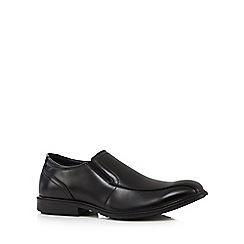 Hush Puppies - Black leather 'Deering Mainstreet' slip on shoes