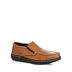 Hush Puppies - Brown leather 'Vicar Victory' slip on shoes