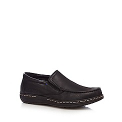 Hush Puppies - Black leather 'Vicar victory' slip on shoes