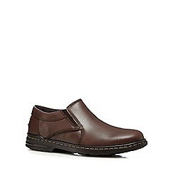 Hush Puppies - Brown 'Alan Hanston' leather slip-on shoes