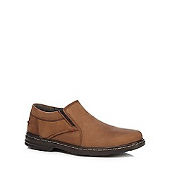 Hush Puppies - Brown leather 'Alan Hanston' slip on shoes