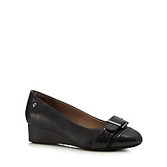 Hush Puppies - Black 'Ellinor' leather wedge heels