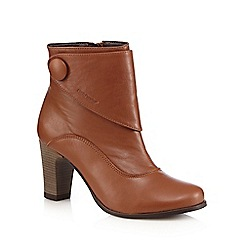 Hush Puppies - Tan leather mid-heel boot