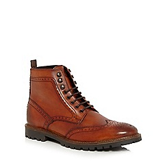Base London - Tan leather 'Troop' brogue boots