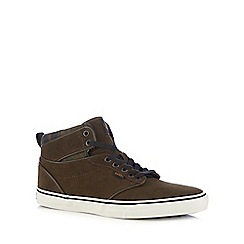 Vans - Brown 'Atwood' hi-top suede trainers