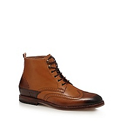 H By Hudson - Tan 'Penley' brogue detail ankle boots