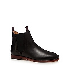 H By Hudson - Black 'Tamper' wood effect sole Chelsea boots