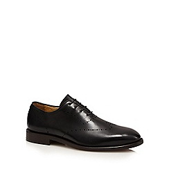 H By Hudson - Black 'Twain' punch detail brogue shoes