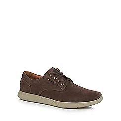 Clarks - Brown leather 'Unlomac Edge' trainers