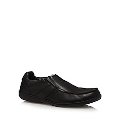 Clarks - Black 'Bradley fall' leather slip-on shoes