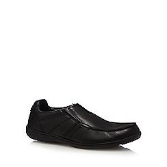 Clarks - Black 'Bradley fall' leather slip-on shoes