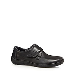 Rieker - Black leather rip tape slip-on shoes