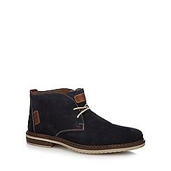 Rieker - Navy suede lace up desert boots