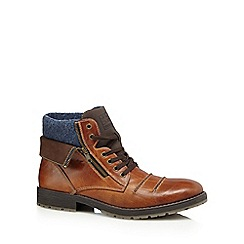 Rieker - Tan leather side zip boots