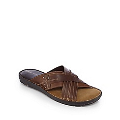 Red Tape - Brown leather slip-on sandals